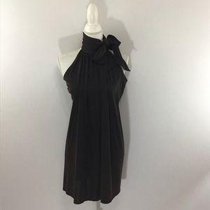 SUSANA MONACO SCARF TIE HALTER SILK SHIFT DRESS